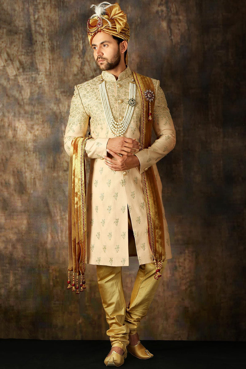 Teracotta Pink Zari Embroidered Silk Wedding Sherwani--STYLIZONE