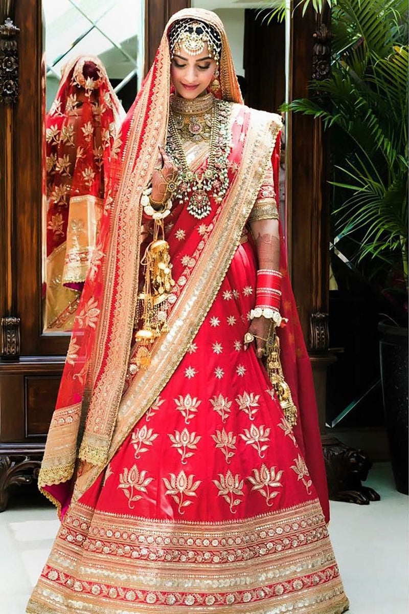 A128-Exclusive Heavy Designer Beautiful Red Color Bridal Lehenga Choli - Stylizone