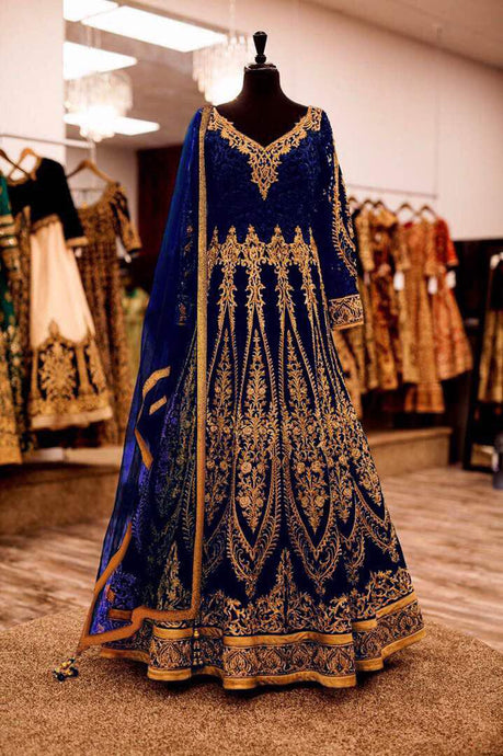 Exclusive Designer Beautiful Navy Blue Bridal Anarkali Lehenga Choli - Stylizone