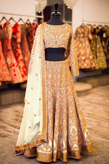 Exclusive Designer Beautiful Beige Color Bridal Lehenga Choli - Stylizone