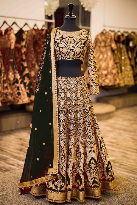 Exclusive Designer Beautiful Black Color Bridal Lehenga Choli - Stylizone