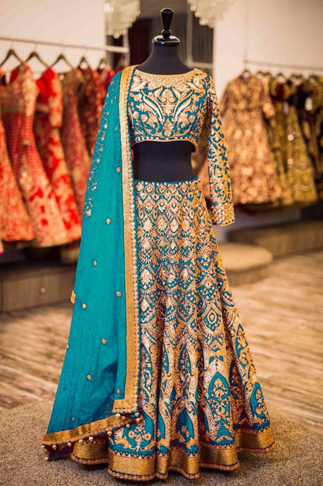Exclusive Designer Beautiful Baby Blue Color Bridal Lehenga Choli - Stylizone