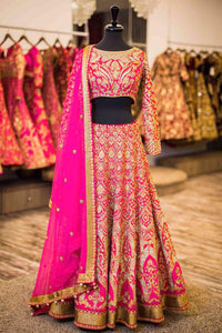 Exclusive Designer Beautiful Fuchsia Pink Color Bridal Lehenga Choli - Stylizone
