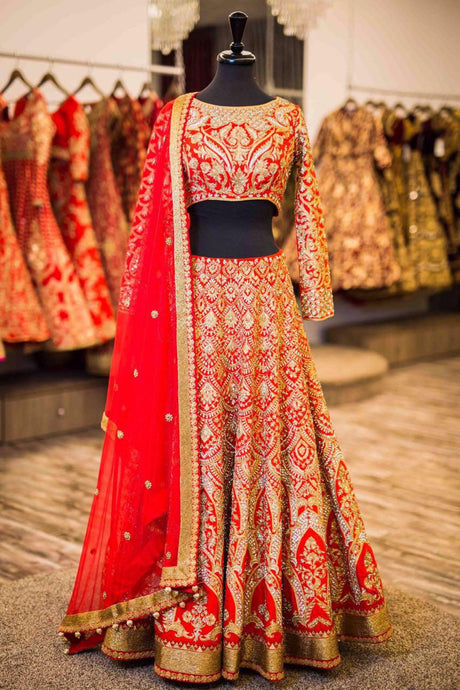 Exclusive Designer Beautiful Peach Color Bridal Lehenga Choli - Stylizone