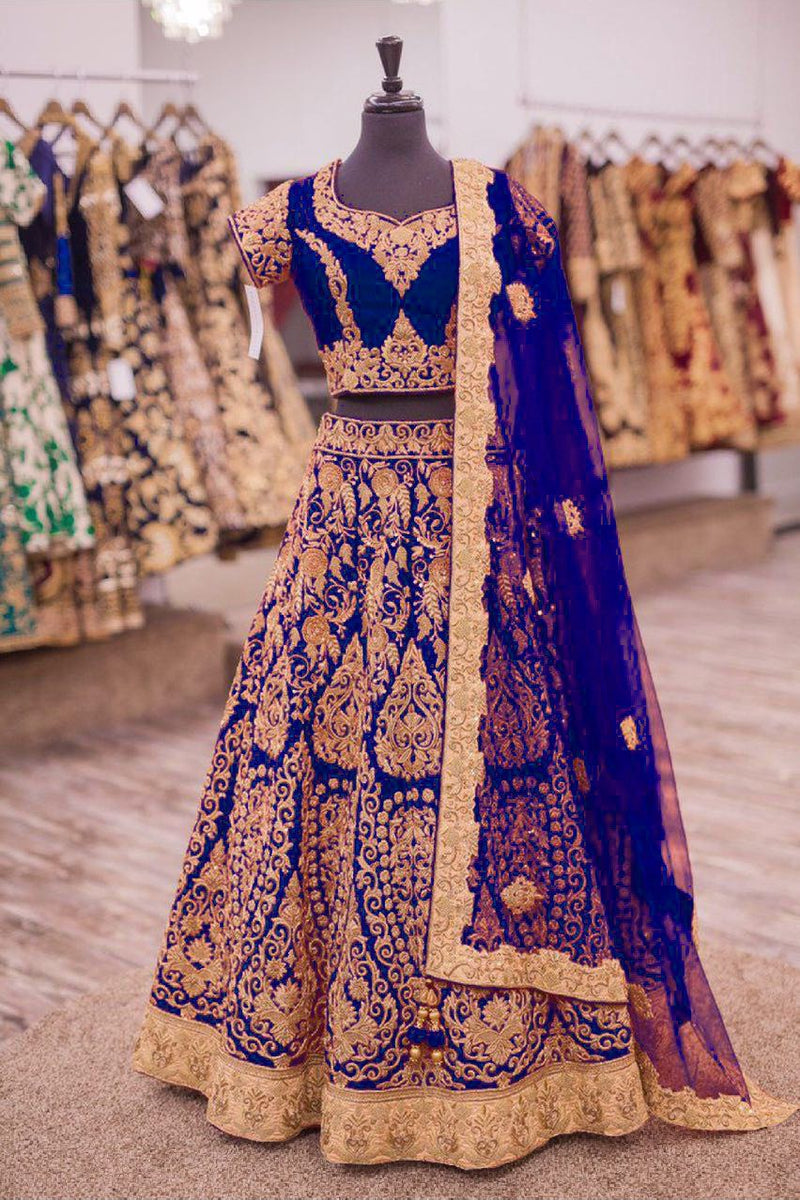Exclusive Designer Beautiful Navy Blue Color Bridal Lehenga Choli - Stylizone