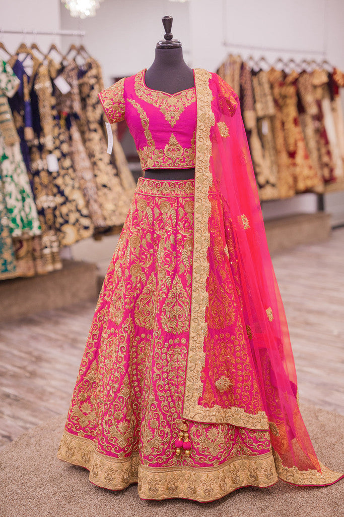 Exclusive Designer Beautiful Pink Color Bridal Lehenga Choli - Stylizone