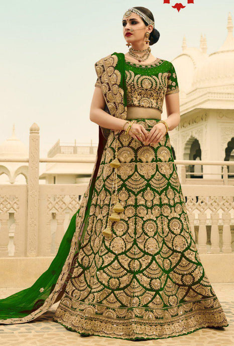 Exclusive Designer Beautiful Green Color Bridal Lehenga Choli - Stylizone