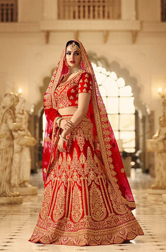 Exclusive Designer Beautiful Red Color Bridal Lehenga Choli - Stylizone