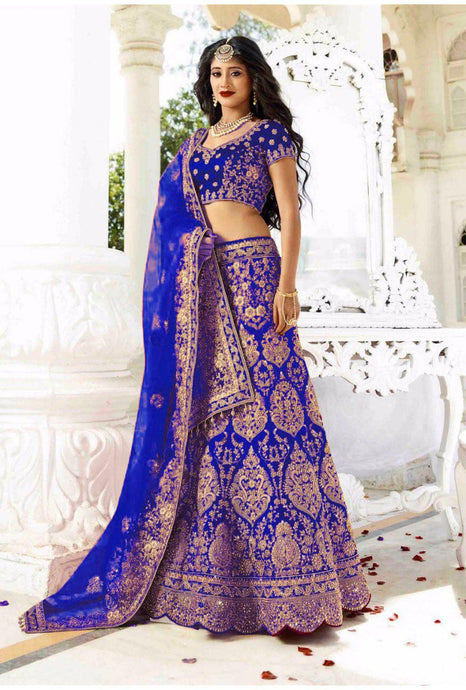 Exclusive Designer Beautiful Royal Blue Color Bridal Lehenga Choli - Stylizone
