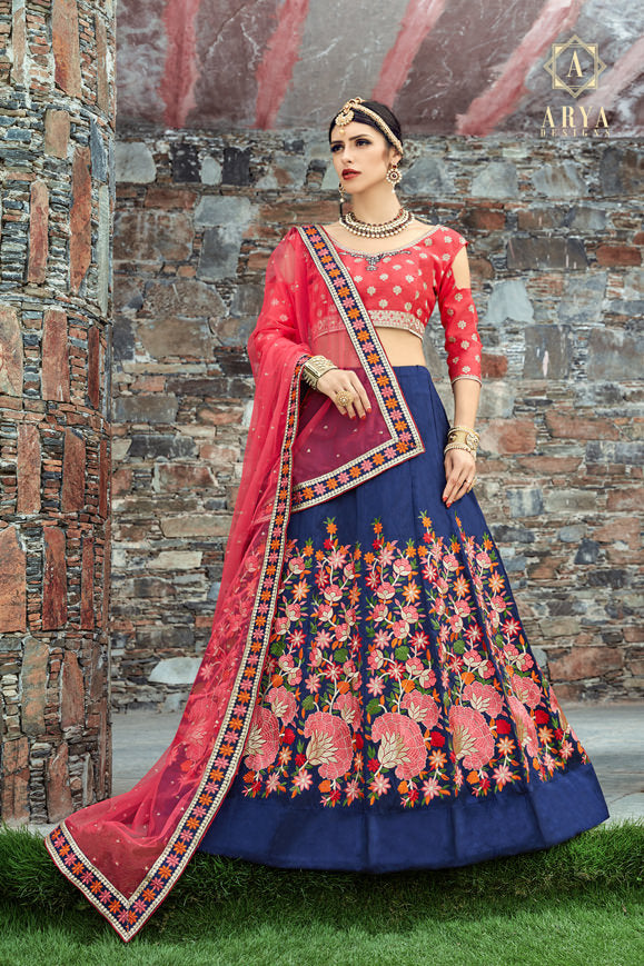 Exclusive Designer Beautiful Navy Blue Color Bridal Lehenga Choli
