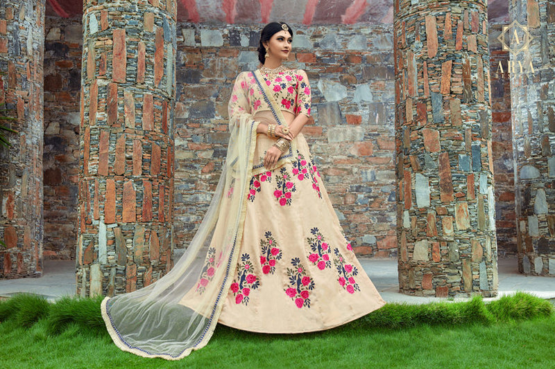 Exclusive Designer Beautiful Cream Color Bridal Lehenga Choli
