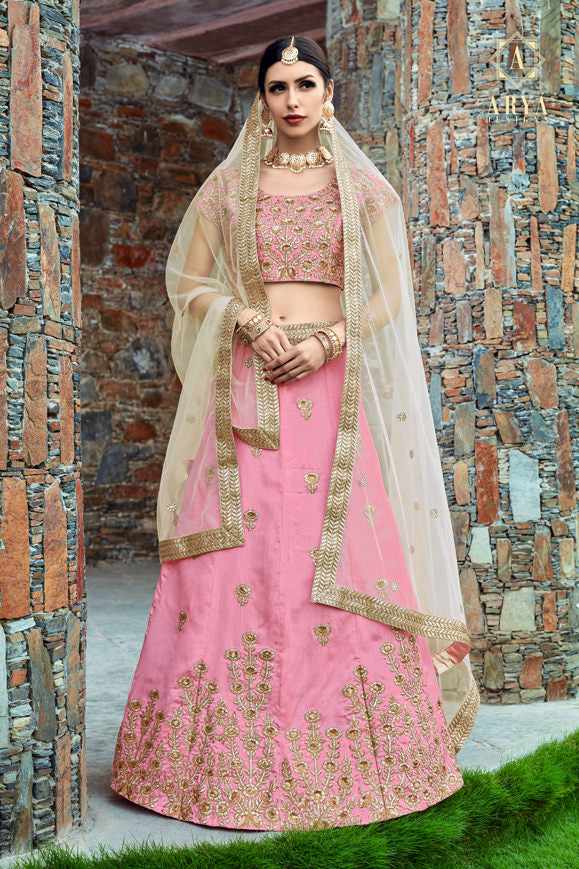 Exclusive Designer Beautiful Baby Pink Color Bridal Lehenga Choli