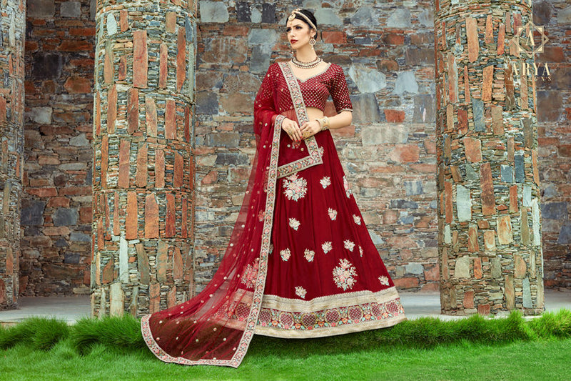 Exclusive Designer Beautiful Maroon Color Bridal Lehenga Choli-STYLIZONE