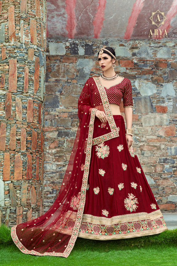 Exclusive Designer Beautiful Maroon Color Bridal Lehenga Choli