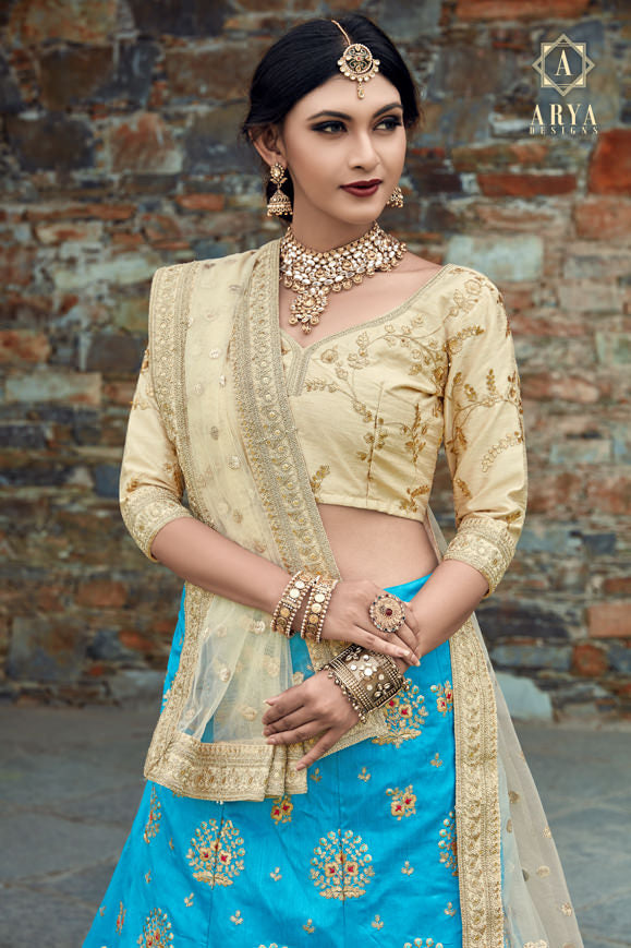 Exclusive Designer Beautiful Sky Blue Color Bridal Lehenga Choli