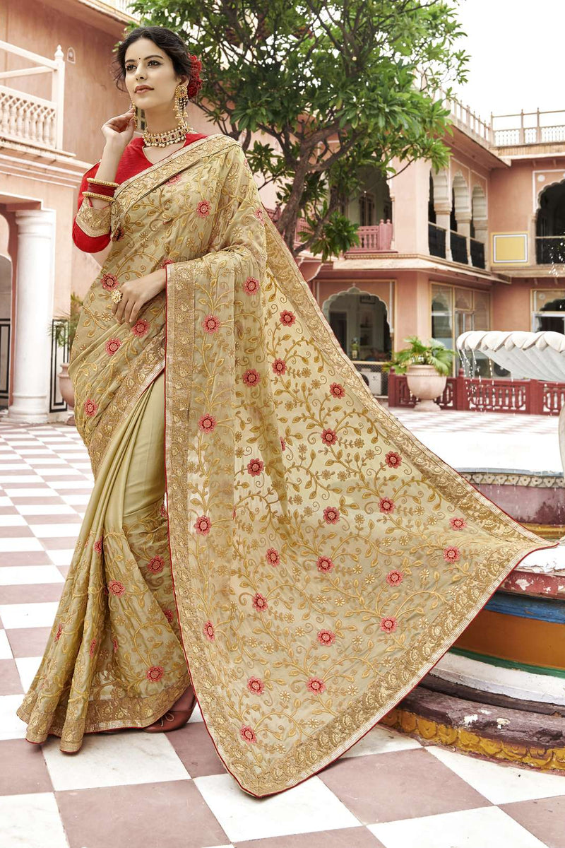 Exclusive Designer Beige Color Party Wear Saree - Stylizone