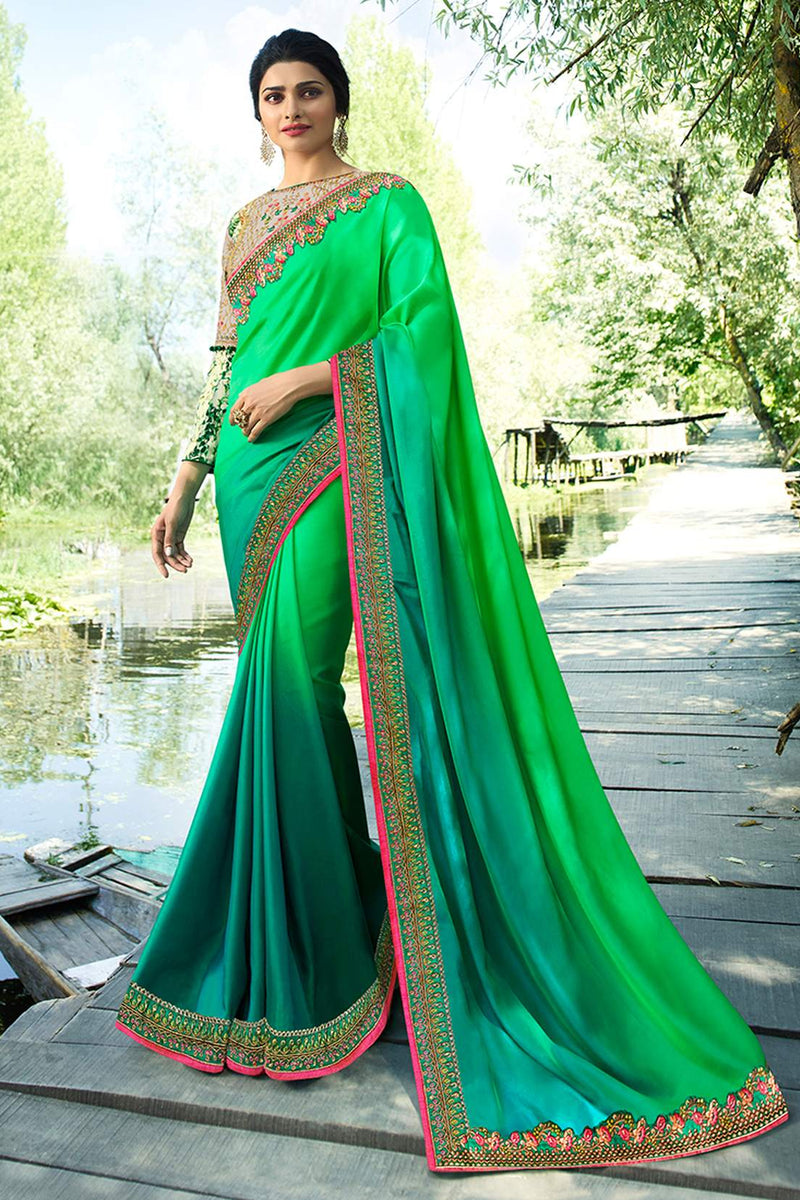 Exclusive Designer Beautiful Green Color Party Wear Saree - Stylizone