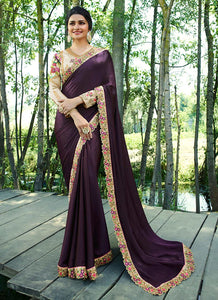 Exclusive Designer Dark Purple Color Party Wear Saree