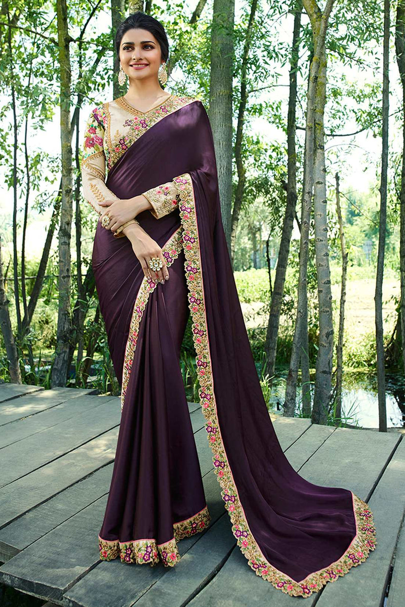 Exclusive Designer Dark Purple Color Party Wear Saree - Stylizone