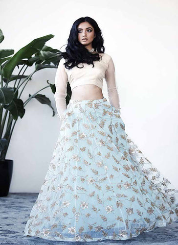 Exclusive Designer Sky Blue Color Party Wear Lehenga Choli - Stylizone