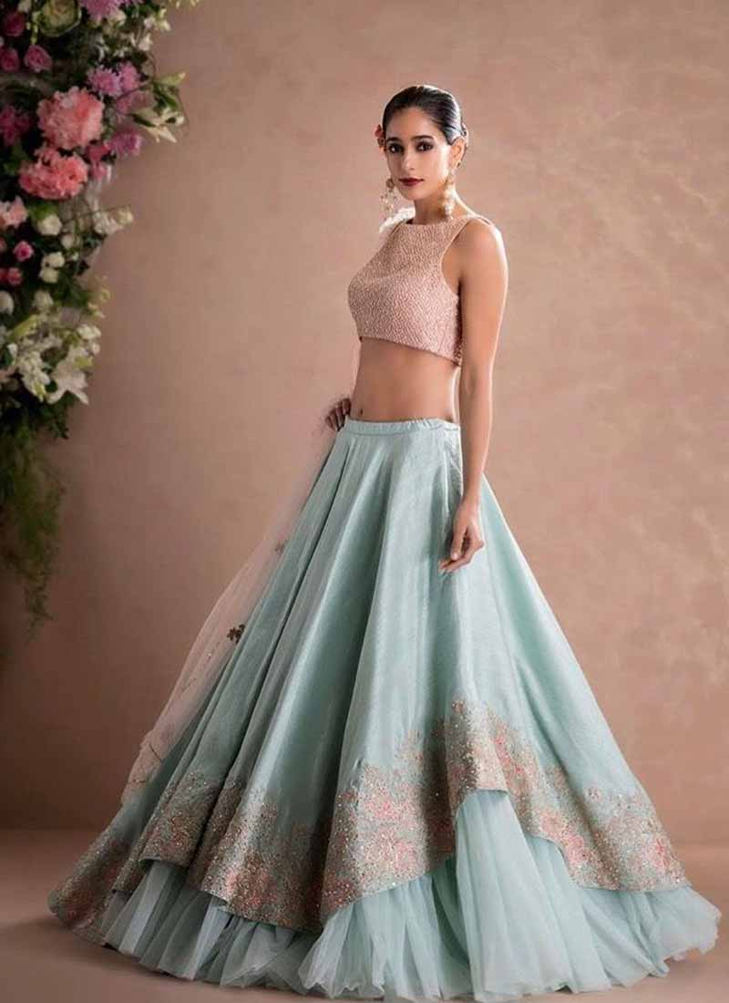 A113-Exclusive Designer Sky Blue Color Party Wear Lehenga Choli - Stylizone