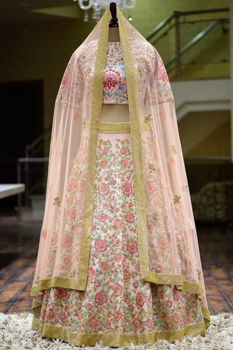 Carnation Pink Resham Embroidered silk Bridal Lehenga
