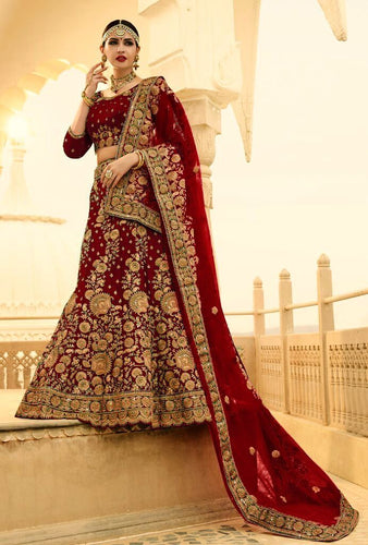 Exclusive Designer Beautiful Maroon Color Bridal Lehenga Choli - Stylizone