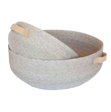 Nest Basket with Leather Handles