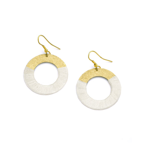 White Discs Earrings
