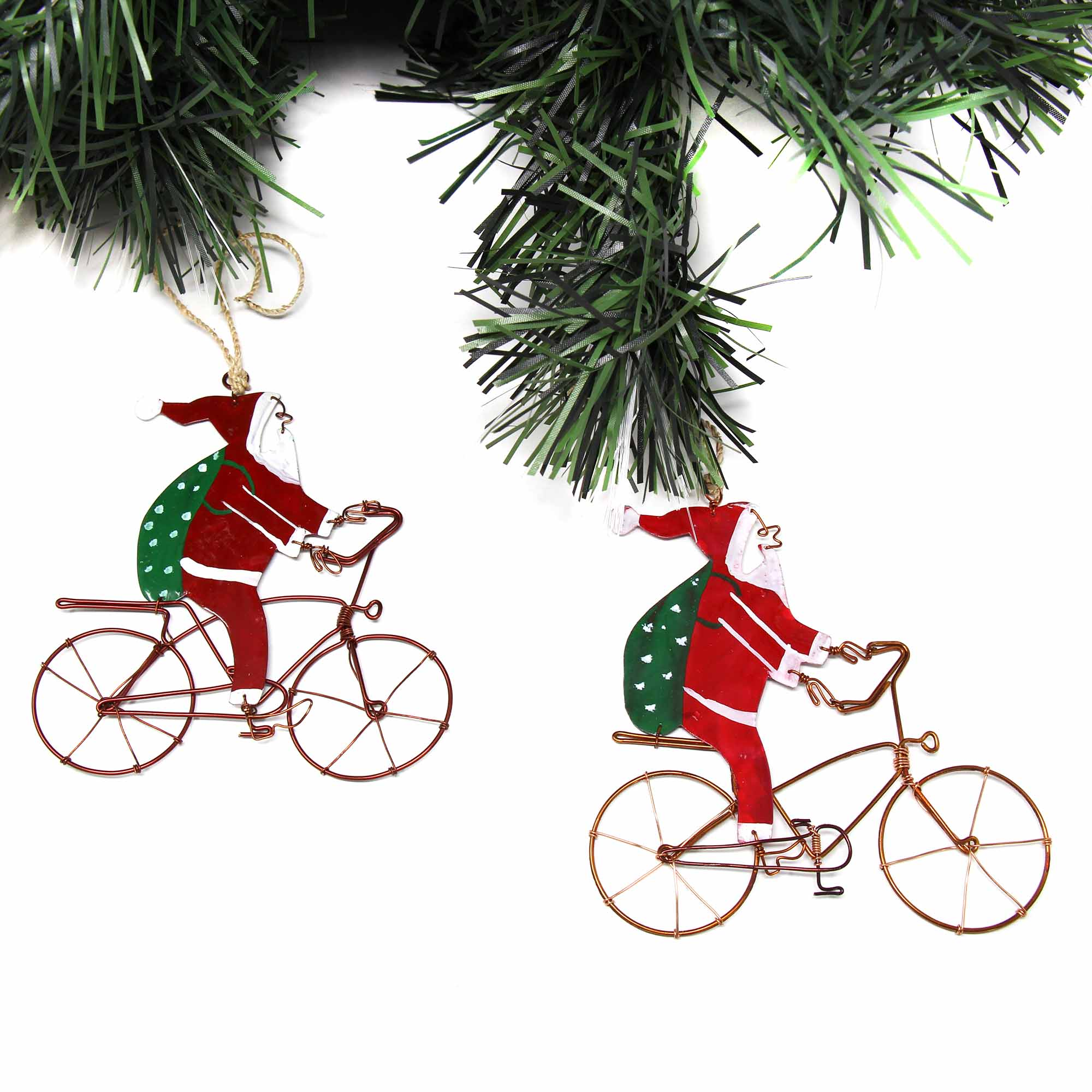 Recycled Santa on bike ornament made in Kenya.