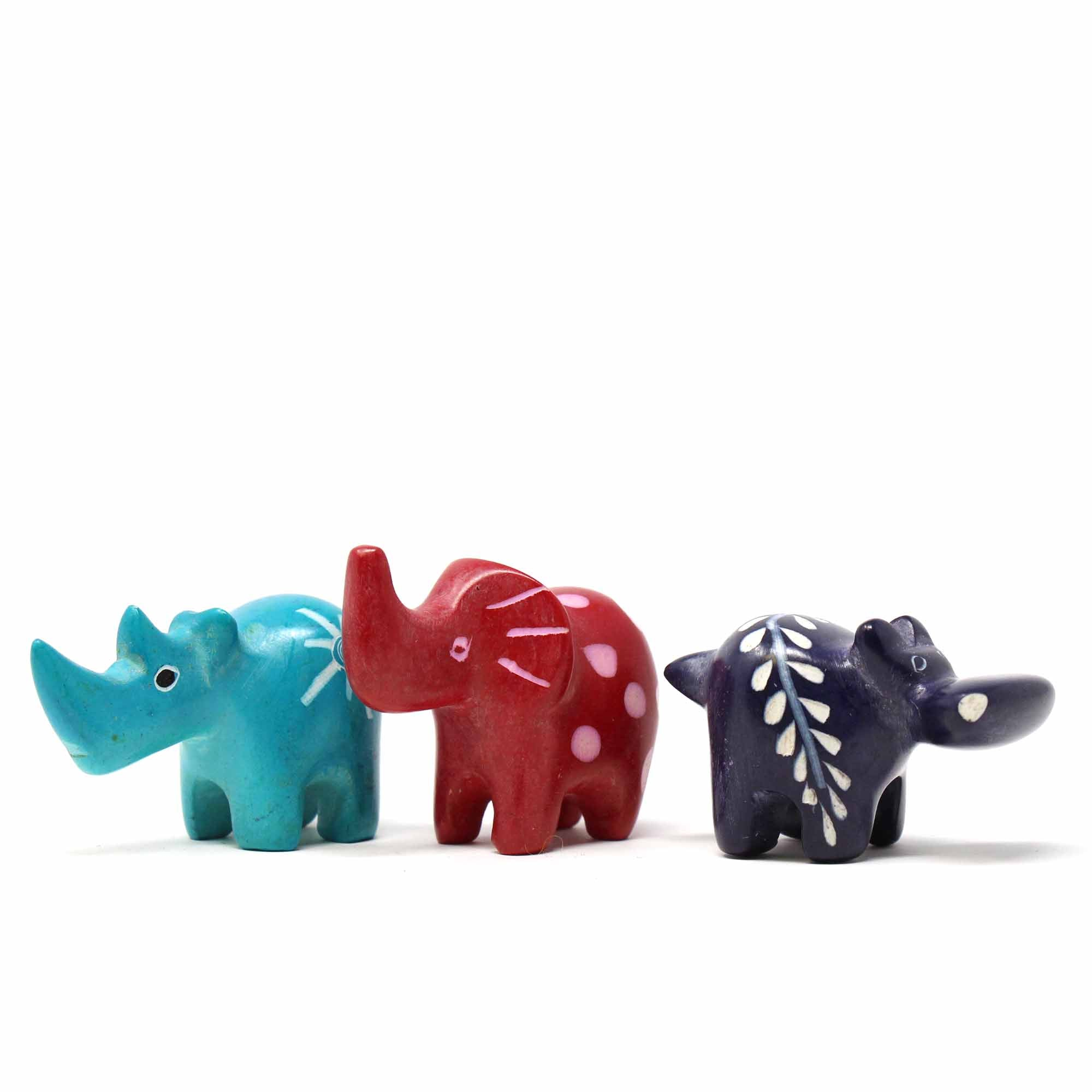 African Soapstone Safari sculptures in bright colors.