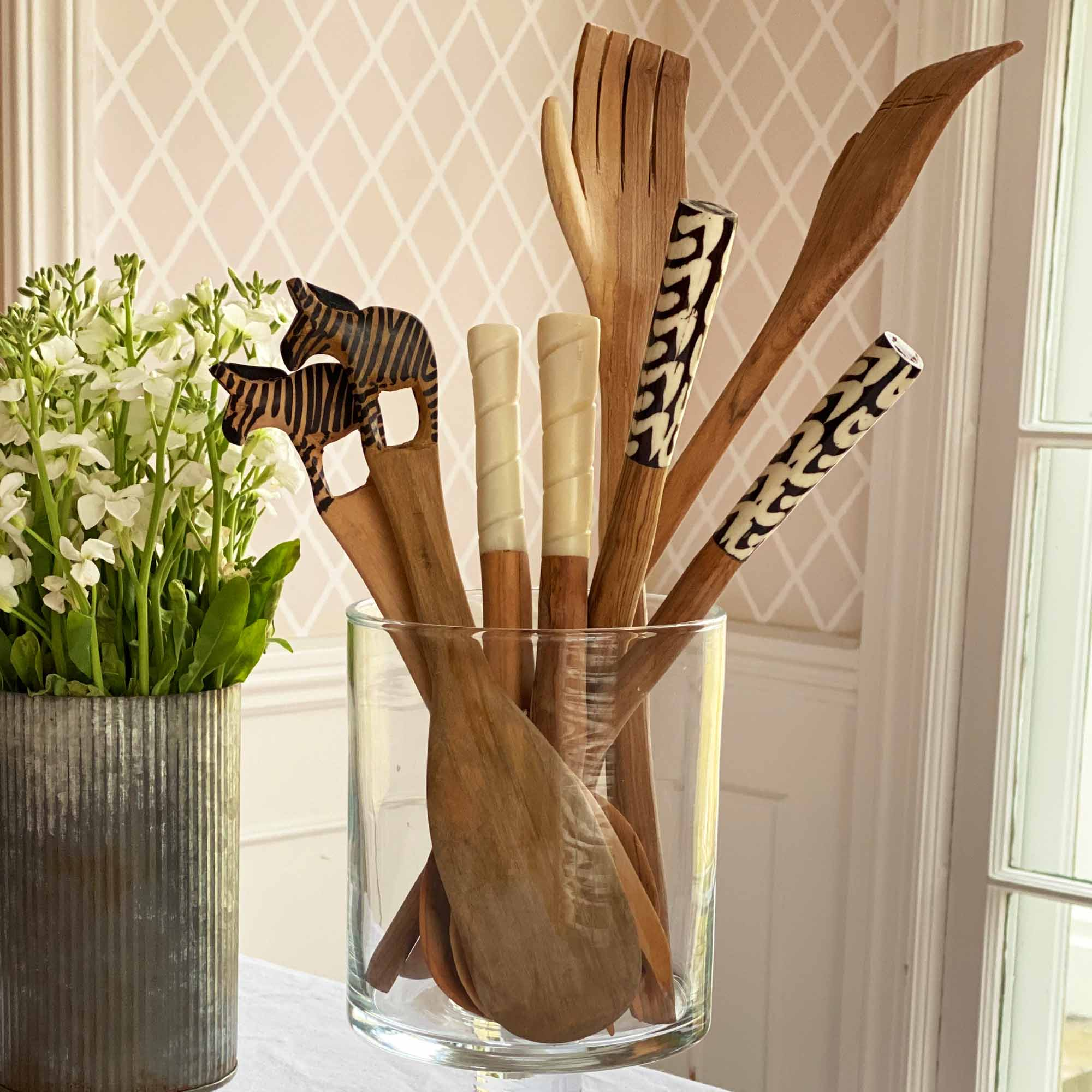 Wood Salad Servers in Glass Jar