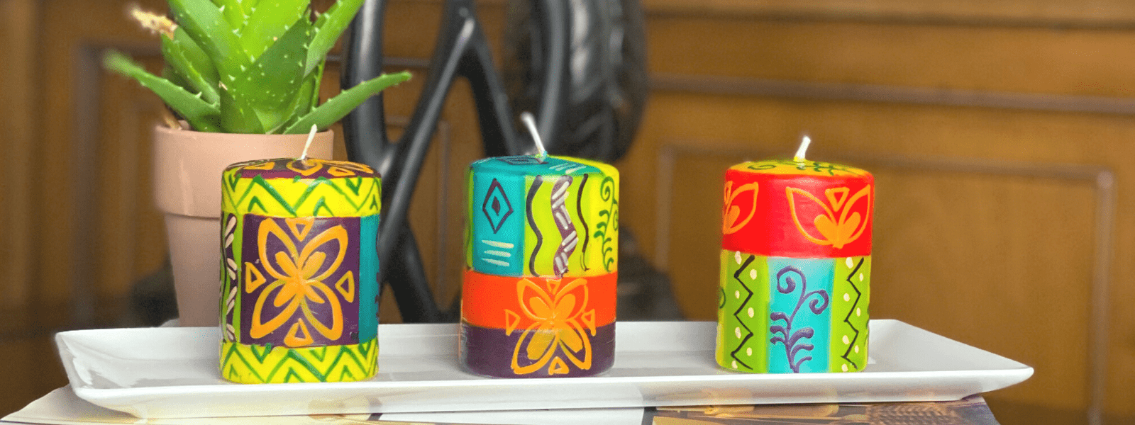Handpainted Fragrance-free Candles from Kenya