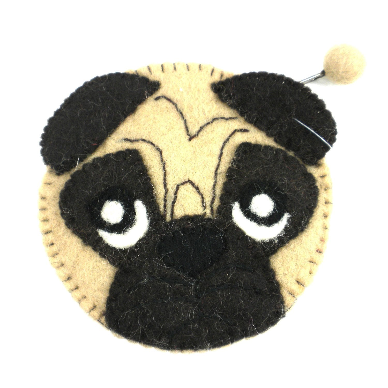 Hand Crafted Felt Pouch from Nepal: Coin Purse, Pug Felt