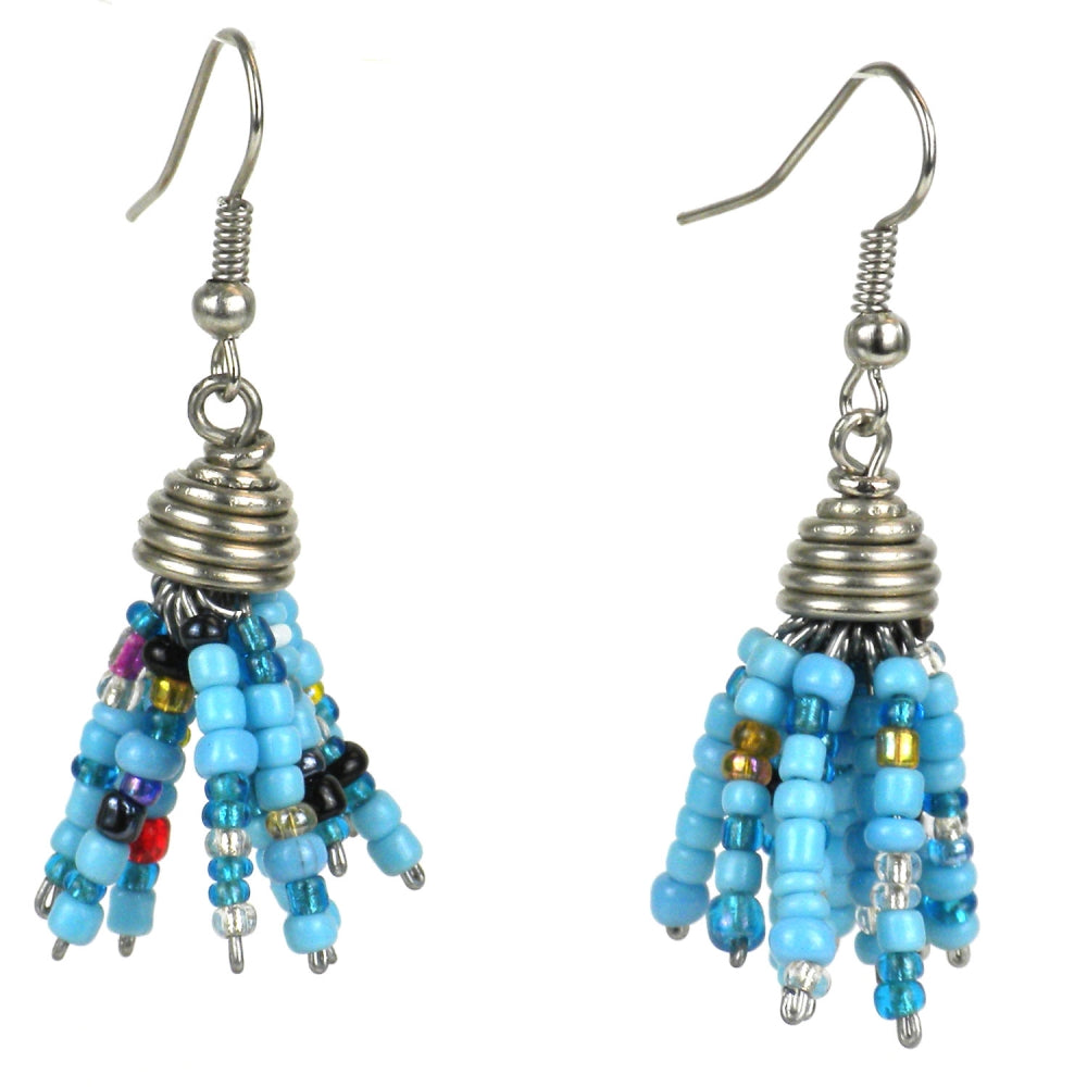 Maasai Beaded Spike Earrings Blue