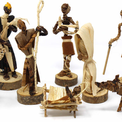 Banana Fiber Nativity 13-piece Set Round - Kenya