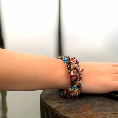 Magnetic Stone Caterpillar Bracelet Earth Multi