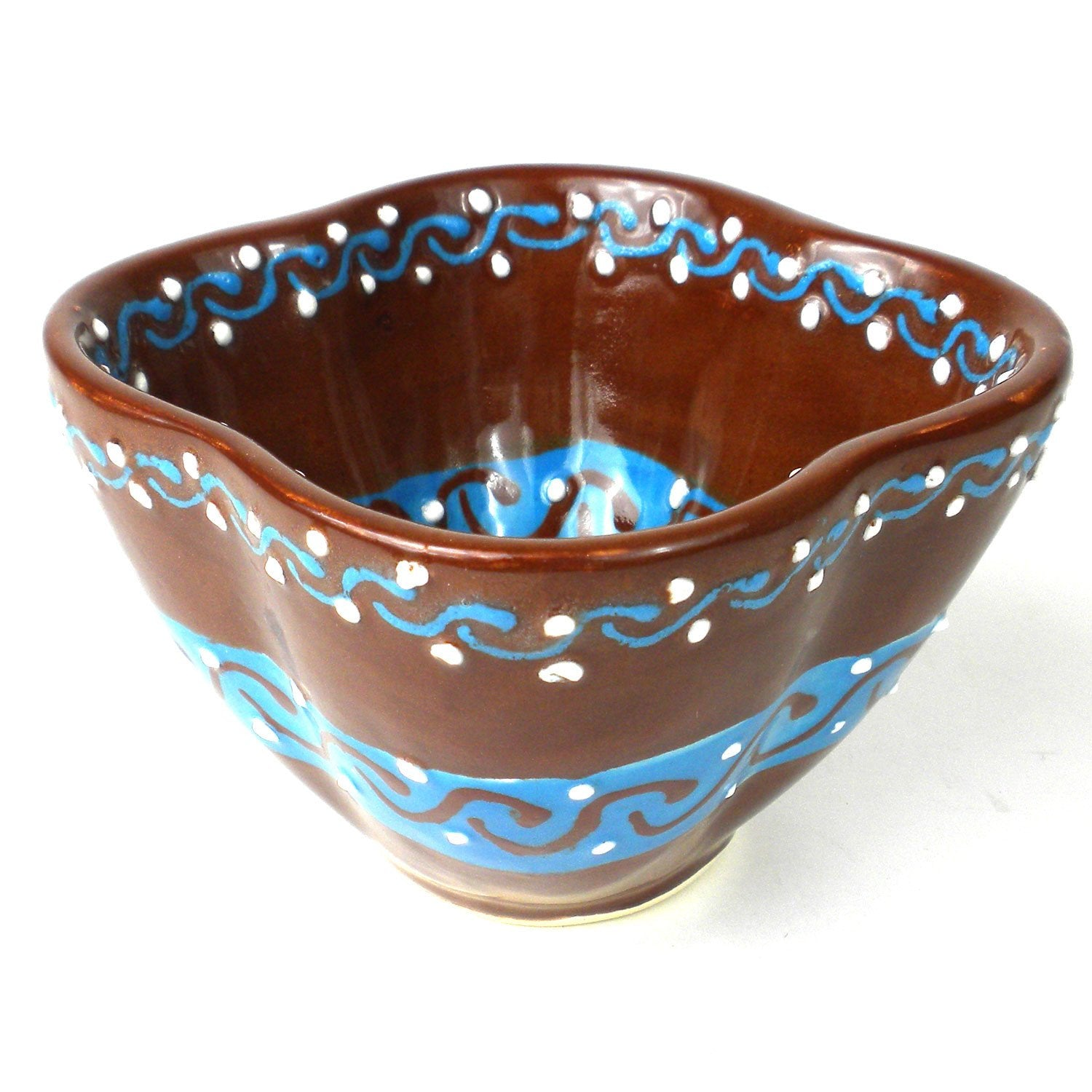 Encantada Handmade Pottery Dip Bowl, Chocolate