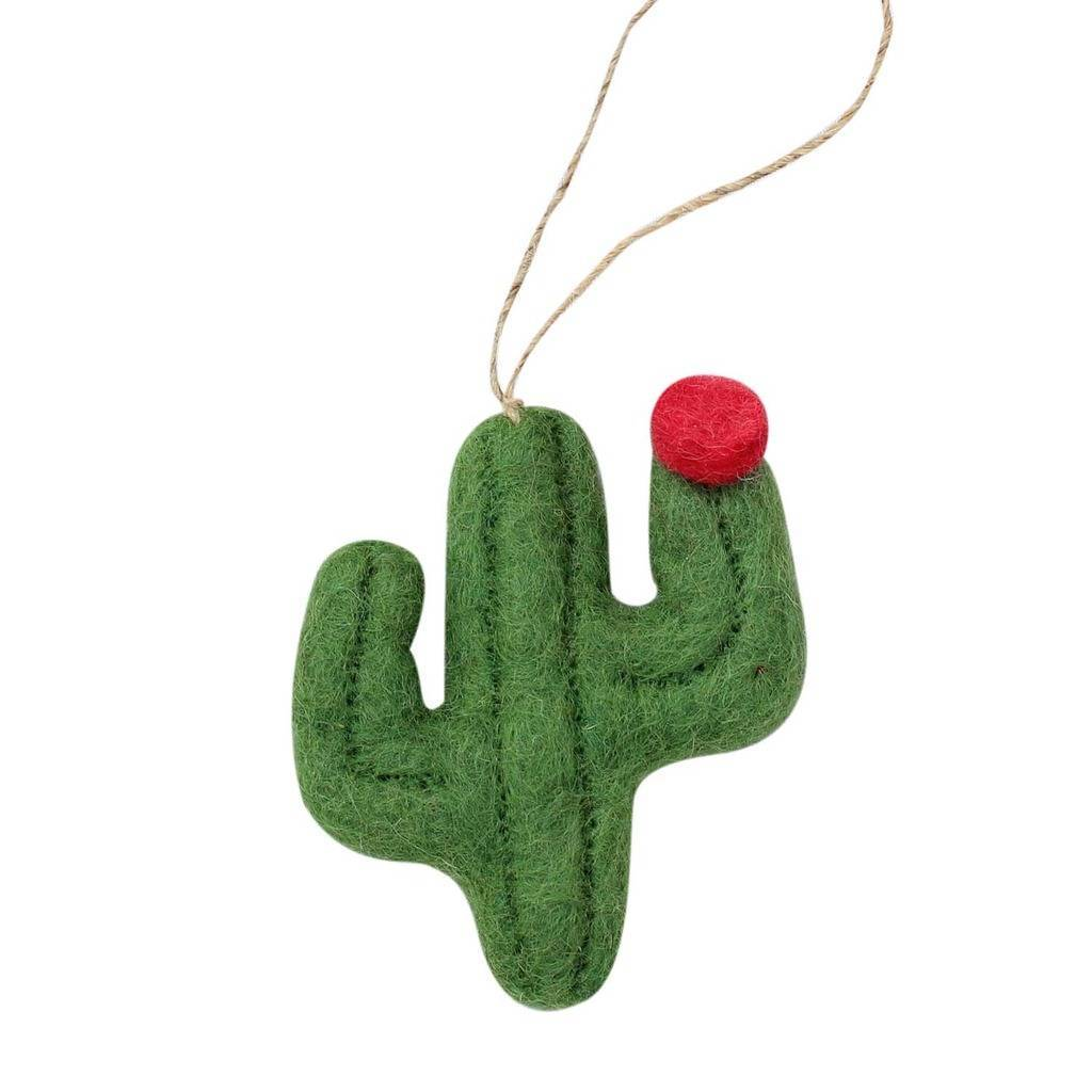 Hand Crafted Felt from Nepal: Ornament, Sage Flat Cactus