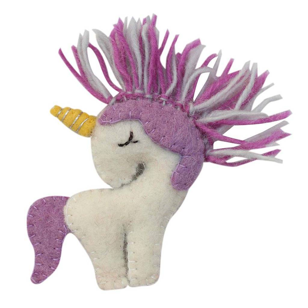 Hand Crafted Felt from Nepal: Ornament, Unicorn with Purple