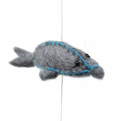 Hand Crafted Felt from Nepal: Mobile, Dolphin