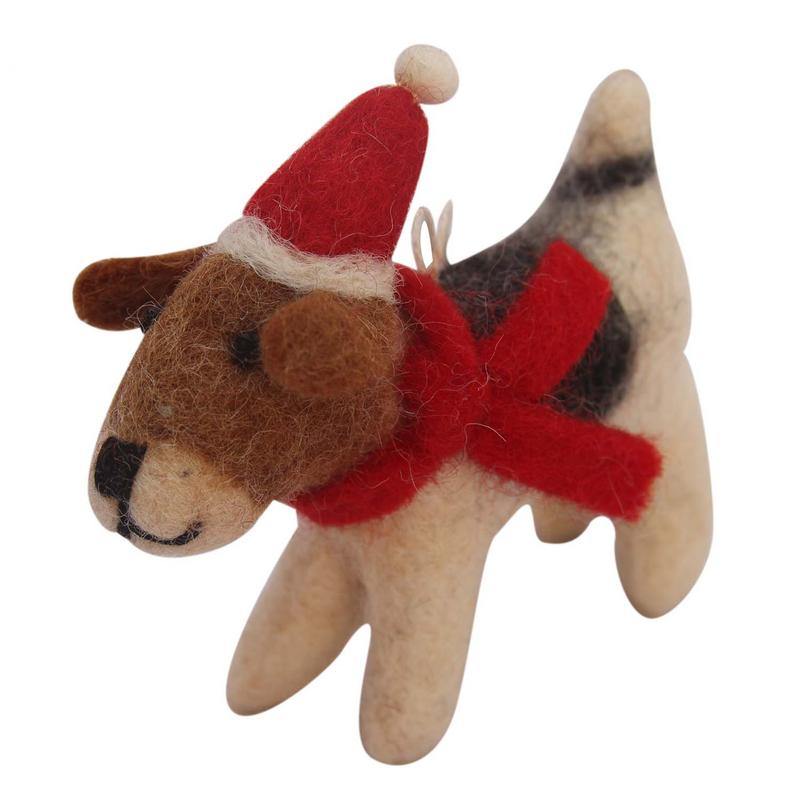 Hand Crafted Felt from Nepal: Ornament, Felt Beagle with Santa Hat