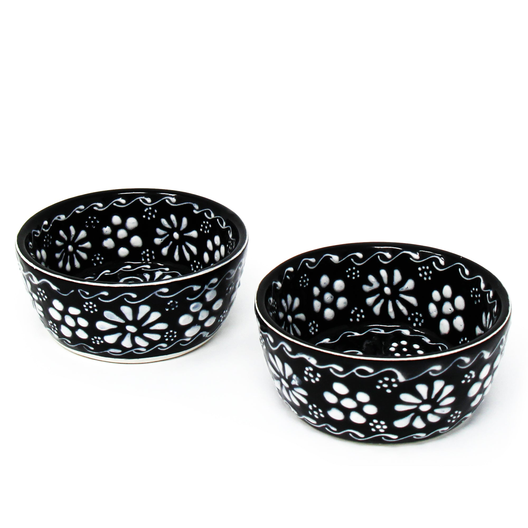 Set of 2 Encantada Handmade Pottery Appetizer & Dip Bowl, Ink