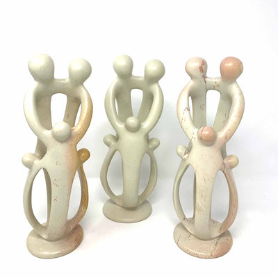 Family Soapstone Sculptures Natural Stone - 8 inch