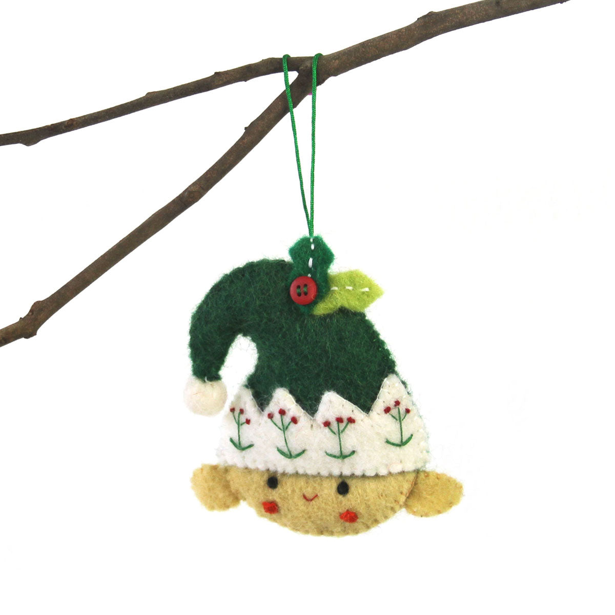 Hand Crafted Felt from Nepal: Ornament, Elf