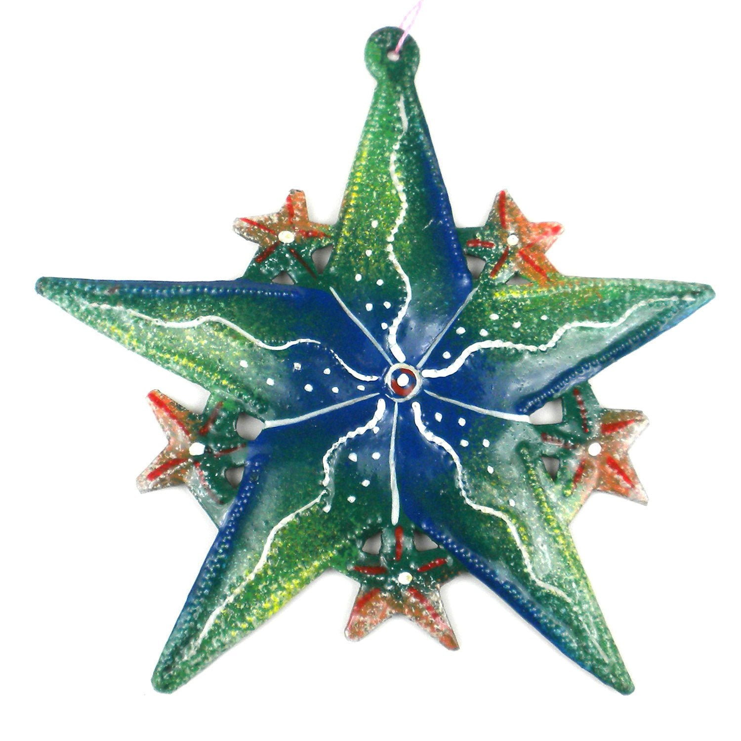 Hand Painted Green Star Steel Drum Ornament