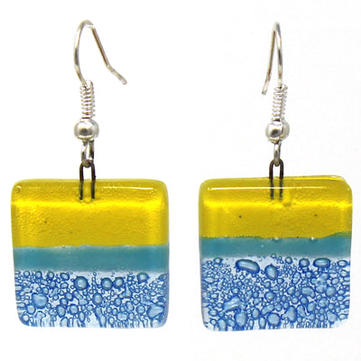Square Glass Dangle Earrings, Yellow & Blue