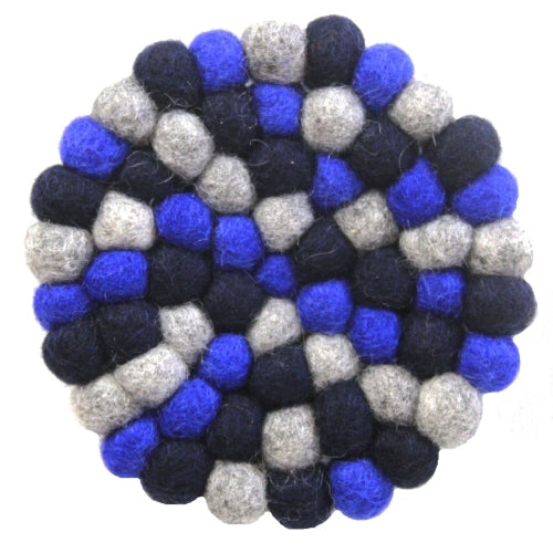 Hand Crafted Felt Ball Trivets from Nepal: Round, Dark Blues