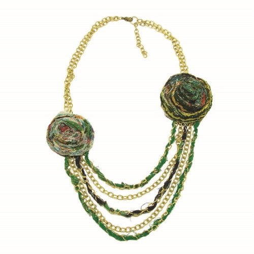 Kantha Recycled Flower Drape Necklace, assorted
