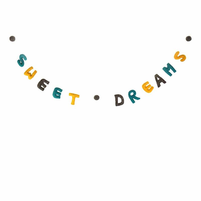 Sweet Dreams Felt Garland Kids' Room Décor, Yellow